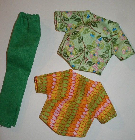Handmade Barbie clothes - green pants and 2 print tops