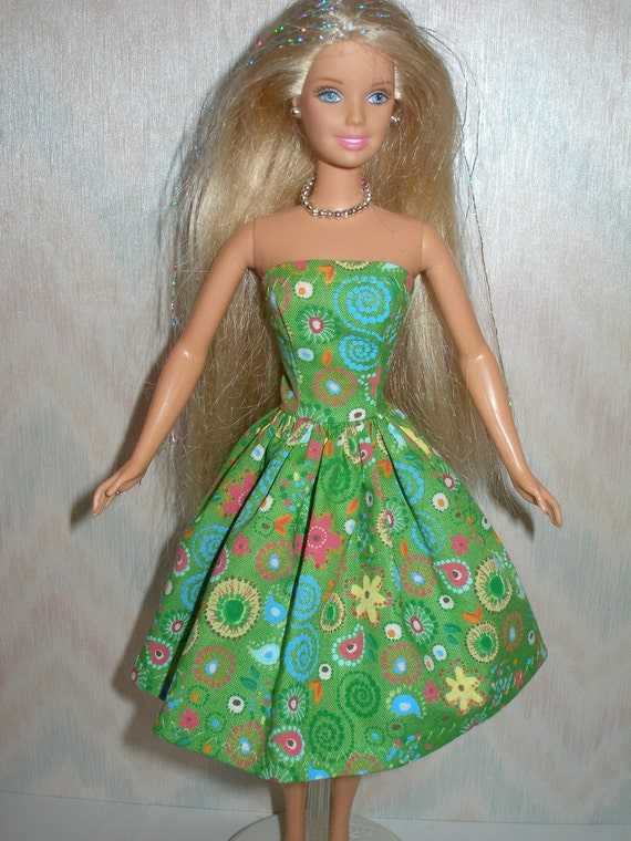Handmade Barbie doll clothes - green cotton print dress