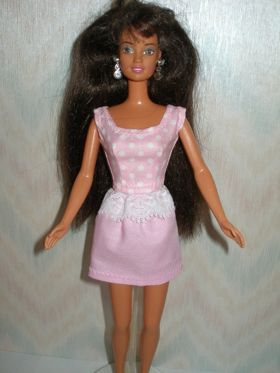 Handmade Barbie clothes - pink and white polka dot top and pink skirt