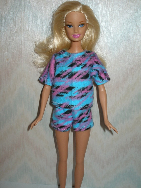 Handmade Barbie clothes - pajama set