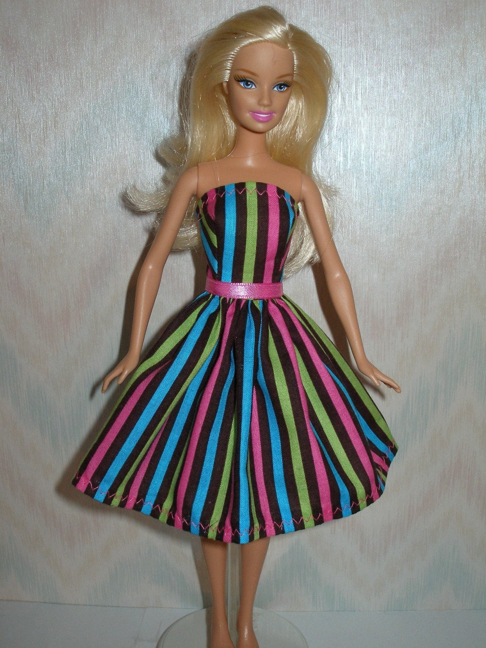 Handmade Barbie Doll Clothes Striped Dress By Thedesigningrose