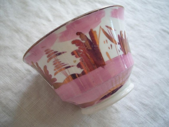 RESERVED /// Georgian Era Tea Cup Pink Copper Glazed Antique 1840's Sunderland Lustre London Shaped FREE SHIPPING