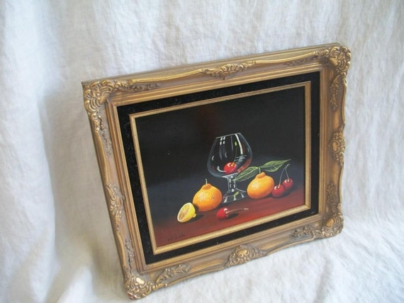 SALE /// Vintage Oil Painting Still Life Fruit High Gloss Original Framed Art Signed by Maria Lak  FREE SHIPPING