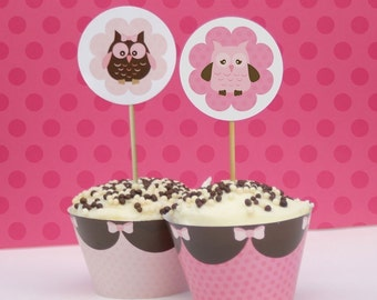 Pretty pink Owl Cupcake Toppers and Wrappers -  Printable
