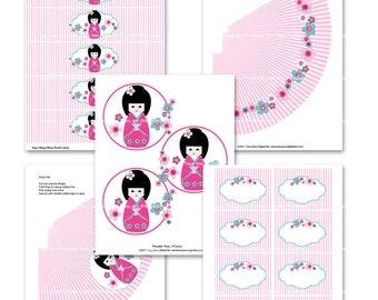 Printable Party Pink Kokeshi Doll -  Printable Party  Set DIY  Set 013
