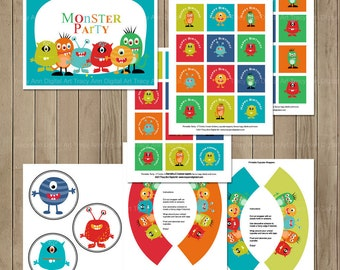 Monster Party, Monster Printable Party,  Little Monster Birthday Banner,  Cupcake Toppers, Hats and more  - Instant download
