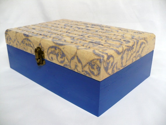 Decorative Wood Storage Box with Brass Hinges