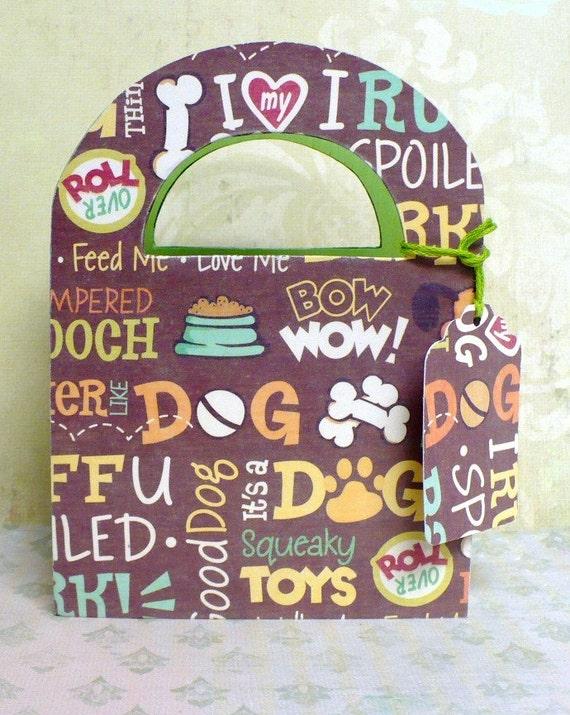 Dog Phrases Decorated Wood Storage Box w/ Gift Tag Kit