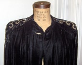 RESERVED ITEM Half Price Sale  Gorgeous Vintage 1930s 40s Black Velvet Beaded Cape National Recovery Board label