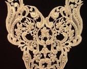 Dress It Up - Large Vintage Beaded Pearl Ivory Wedding  Applique Yoke (H)