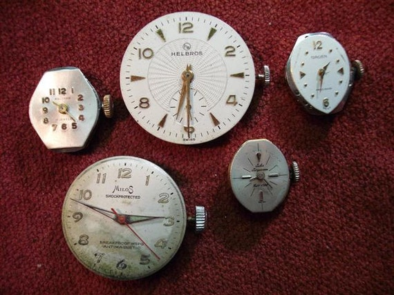 Vintage Watch Movements With Dials Attached - Grouping Of Five  - Set 2