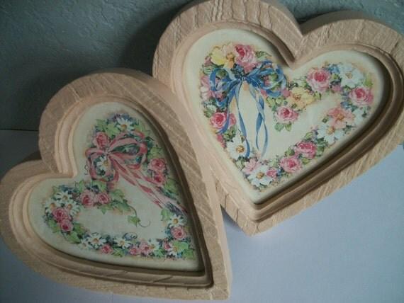 Vintage Homco Shabby Chic Hearts Wall Decor - Set of Two Treasury Item