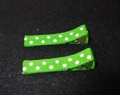 SET OF 2 Covered Hair Clippies--swiss dots
