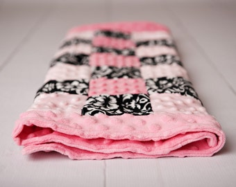 Beautiful Damask and Pink Minky Blanket- Ships in 1-3 Business Days