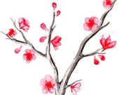 Japanese Cherry Blossom Tree Watercolor 3 Print