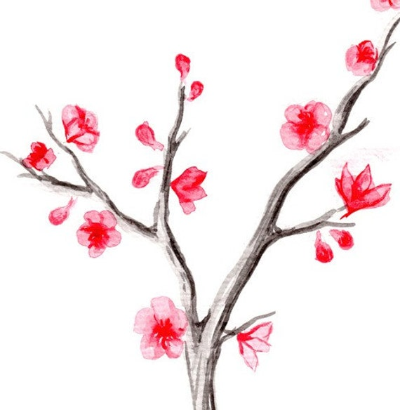 Japanese Cherry Blossom Tree Watercolor 3 Print