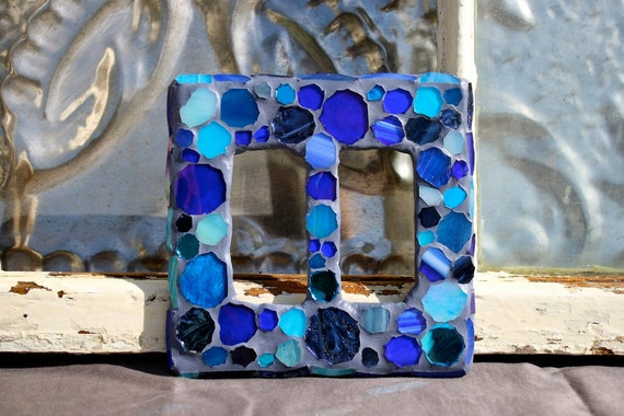 Mosaic Stained Glass- Double Rocker Switch Plate Cover-- Blue, Cobalt, Aqua, Sky