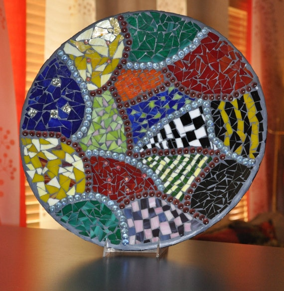 Custom Listing for Laurie Mosaic OOAK Decorative  Stained Glass Platter