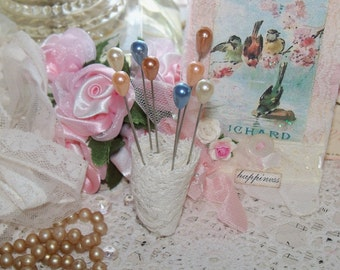 Beautiful Pastel Pearl Head Pins-Altered Art-Supplies-Set of 12-Straight Pins-Wedding-Millinery
