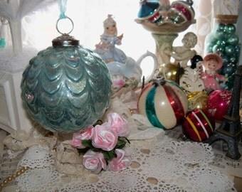 Huge Vintage Mercury Glass Ornament Ball-Kuegal-Aqua-Marie Antoinette-6 inch