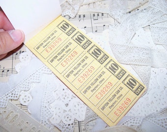 Vintage Ticket Book-Yellow Cab Company-Altered Art-Ephemera-Mixed Media-ATC-Supplies
