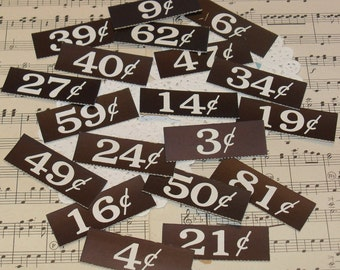 Vintage Price Tags-Black and White-Altered Art-Mixed Media-ATC-Supplies-Grocery Store-Mercantile-20 pieces