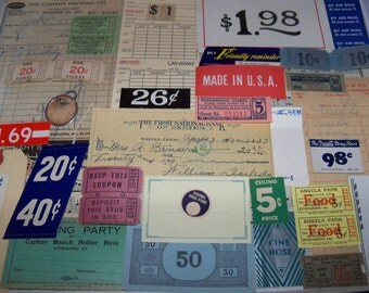 Vintage Paper Ephemera Kit-Tickets and Tags-Mixed Media-Altered Art