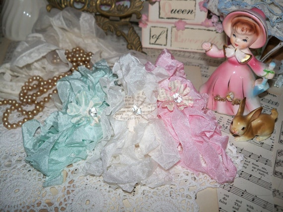 15 yards of Pretty Ribbons-Marie Antoinettes Garden-Seam Binding-Crinkled-They smell too-Like Victoria Secret Love Spell