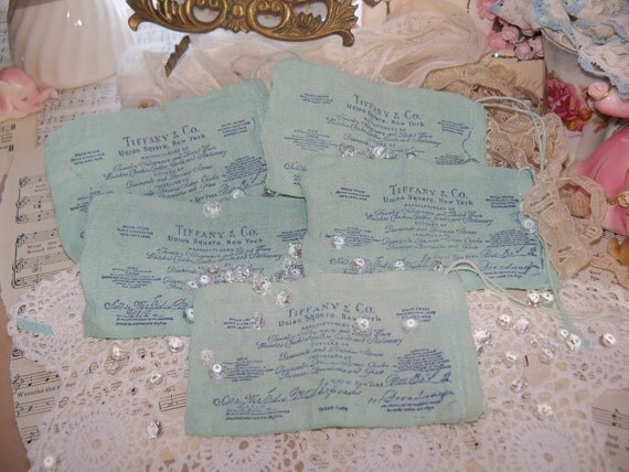 Vintage Tiffany and Co. Jewelry Store Reciept Muslin Bags-Stamped-Tiffany Blue-Aqua-Robins Egg