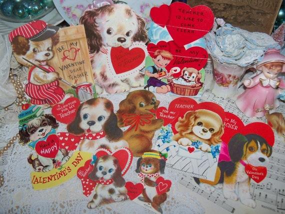 Vintage Childrens Valentine Cards-PUPPIES-1950s-Teacher-Classroom Items-Gibson-Hallmark-Greeting Cards-Ephemera-Meri-Card