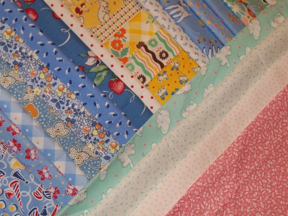 Reproduction Feedsack Fabric Quilt Squares Aunt Grace Darlene