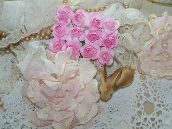 Reserved for Donna-Paper Flowers-Pretty Pink-Roses-Millinery-Mulberry-Embellishment-Supplies-Scrapbooking-Shabby-Altered Art