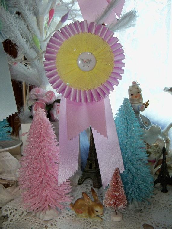 Pretty Pastel Christmas Prize Ribbon Ornament