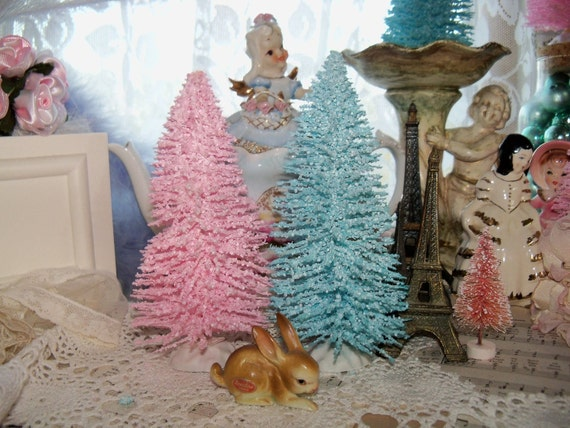 Treasury Item-Beautiful Pretty Pastel Christmas-AQUA-Bottle Brush Tree