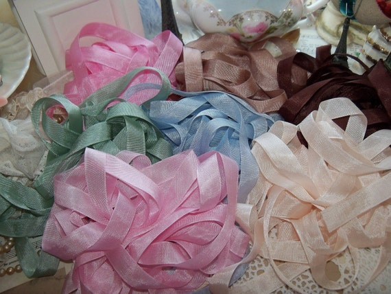Vintage Seam Binding Ribbons-FRENCH PASTRY-Patissere-21 yards