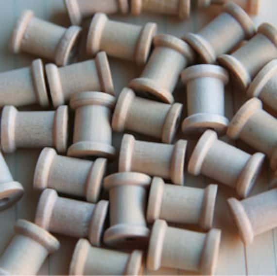 Miniature Wooden Spools-Maya Road-Bakers Twine-Embellishment-Altered Art-Mixed Media