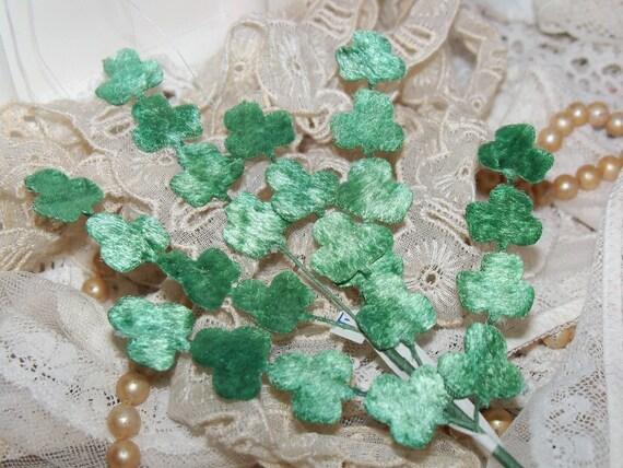 Vintage Millinery Velvet Leaves-SHAMROCKS-Made in Japan-Old Stock