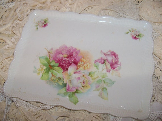 Antique Vanity Tray with Huge Pink Cabbage Roses-Shabby
