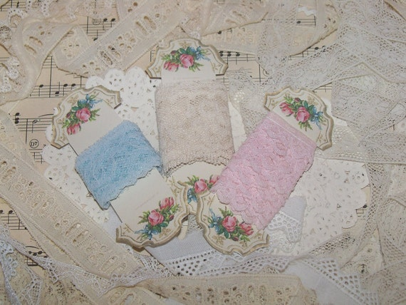 Vintage Lace Lot-Soft Pastels-3 yards-Sewing-Altered Art-Embellishment-French Chic-Carded