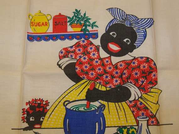 Vintage Tablecloth Kitchen Tea Towel-Black Americana-Mammy-Red White and Blue-PRISTINE-Unused-Paper Tag