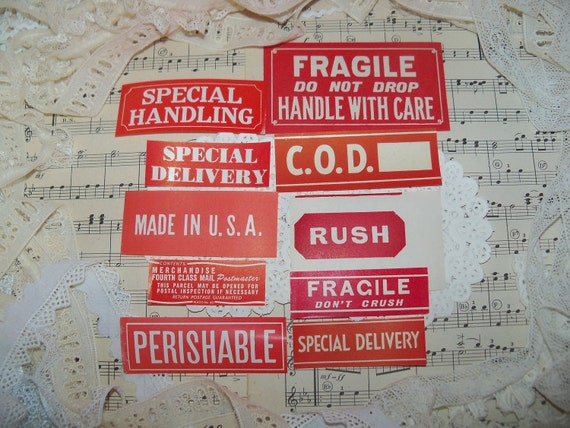 Send it Red Label-Vintage Dennison Gummed Labels-Seals-Red Lot-Ephemera-10 pieces-All Different-New Old Stock