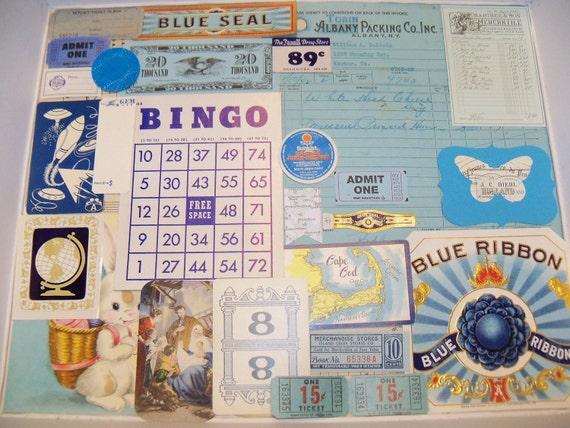 Vintage Supplies-Mixed Media-Altered Art-Scrapbooking-DIY-Inspiration-Ephemera Lot-Cards-ATC-Blue Seas