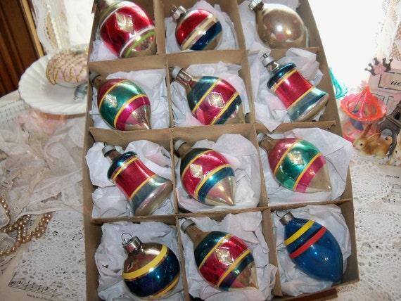 Vintage Shiny Brite Christmas Ornament Lot-Stripes-Indents-Original Box-Tear Drops-Bells