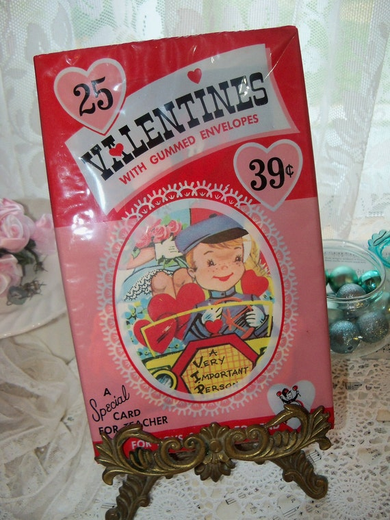 Old Stock-Unused-Boxed Valentine Day Cards from the 1950's-1960's-Original Package