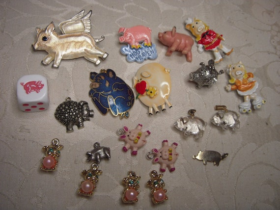 Destash CRAFT Lot PIGS HOGS for Repurposing Collage Jewelry Making