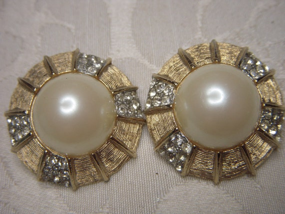 Vintage Donald Stannard Pearl and Rhinestone Earrings Big and Bold