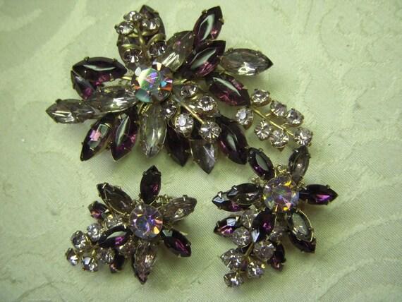 Vintage BEAU JEWELS Purple Amethyst Rhinestone Brooch Pin and Earrings