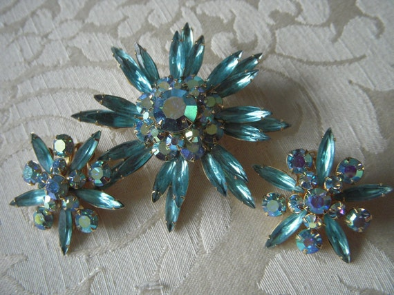 EXQUISITE Signed Judy Lee Vintage Brooch and Earring Set