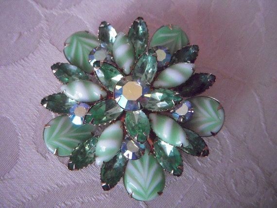 LARGE Vintage Green Candy Stripe ARTGLASS and Rhinestone Brooch Pin