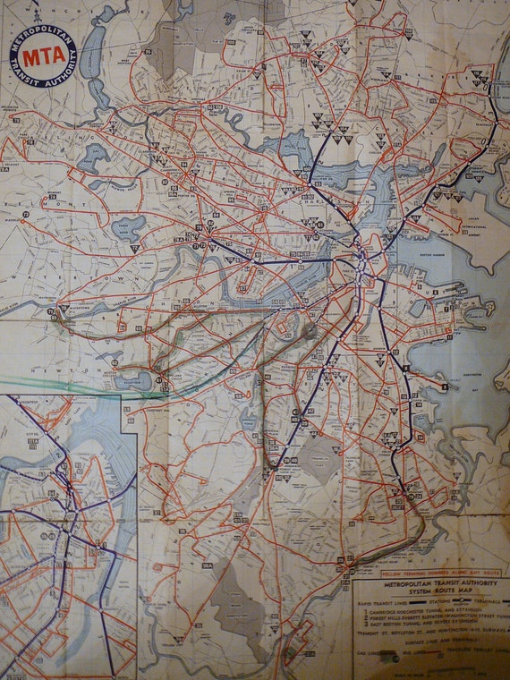 1956 Boston MTA Systems Route Map - Metro - Rapid Transit System